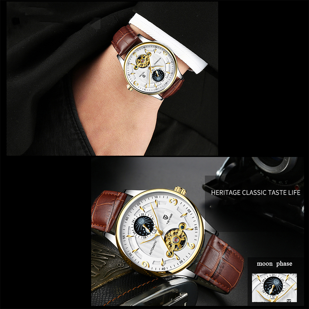 TEVISE T820B Casual Moon Phase Automatic Mechanical