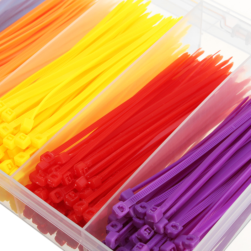 600Pcs Colorful Plastic Nylon Tie 2.5x100mm with Case for RC Accessory
