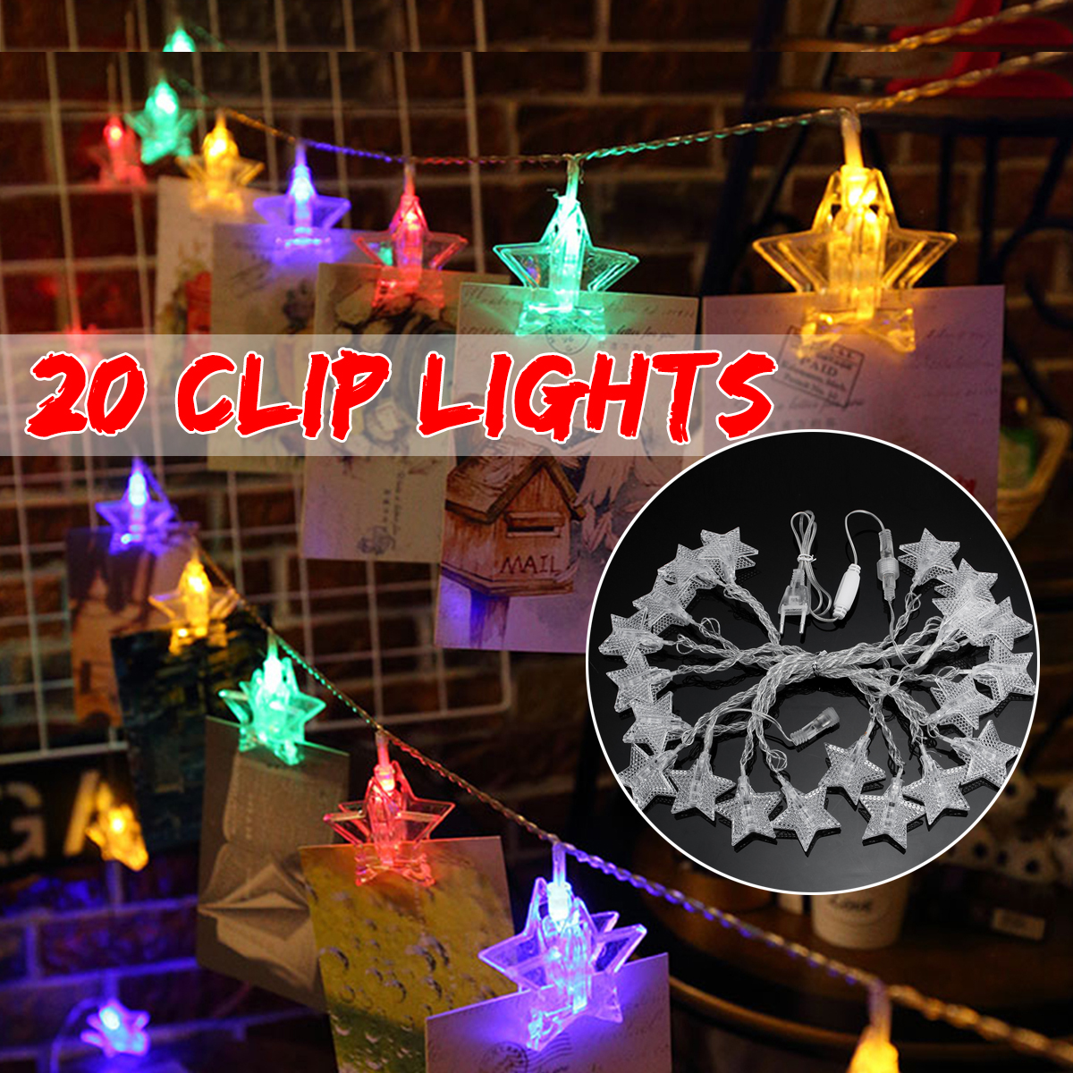 AC220V 2.5M Plug in 20 LED Star Colorful Photo Clips Fairy String Light Hanging Peg Wedding Lamp