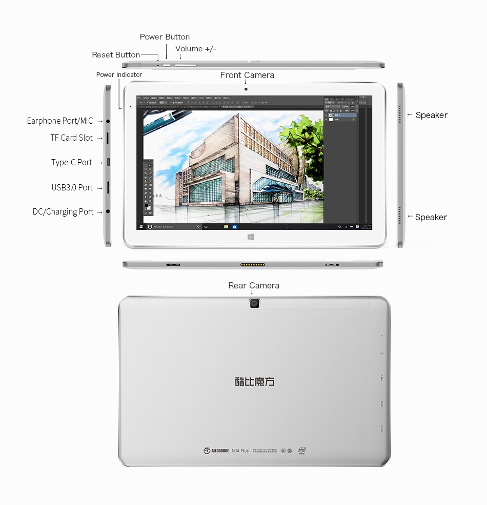 Original Box ALLDOCUBE Cube Mix Plus Intel Kaby Lake 7Y30 Dual Core 10.6 Inch Windows 10 Tablet PC