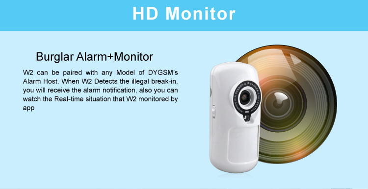 2 in 1 HD Burglar Alarm Monitor PIR Sensor Motion Detection Linkage Alarm Video Camera APP Control