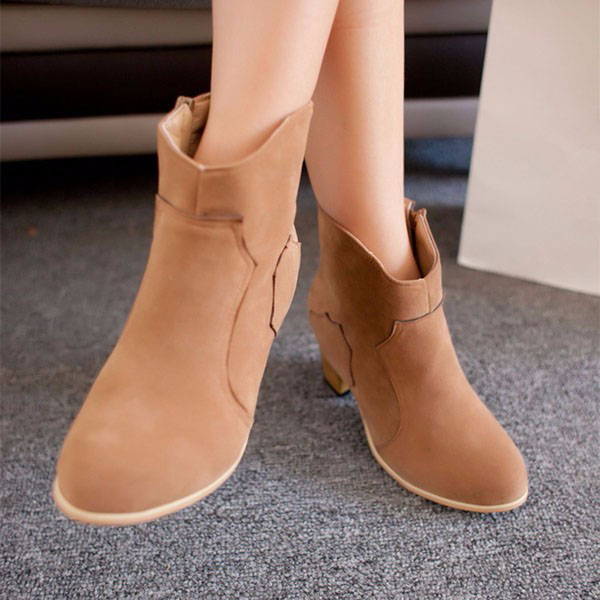 Women Artificial Suede Boots Ankle Zipper Mid Block Heel Short Shoes