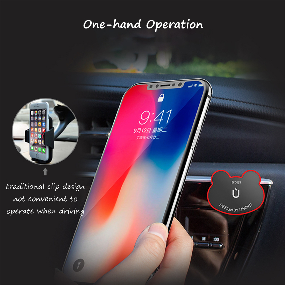 Multi-functional Black Flog Magnetic Phone Holder Car Air Vent Clip/Sticker Stand Mount Universal