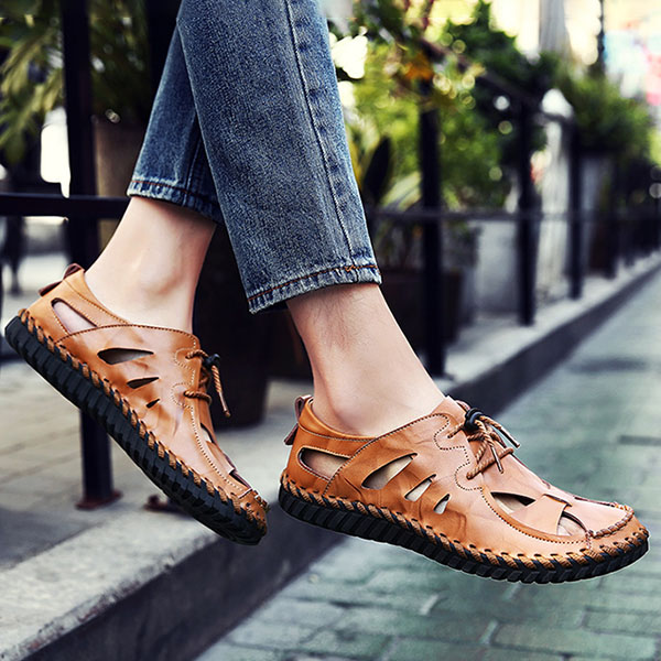 Mens Casual Breathable Beach Non-slip ​Genuine Leather Sandals