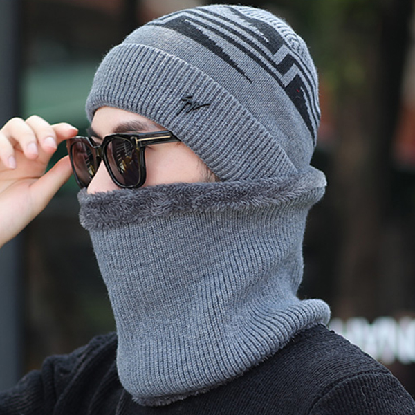 Mens Winter Warm Knit Woolen Face Mask Hat Beanie Cap