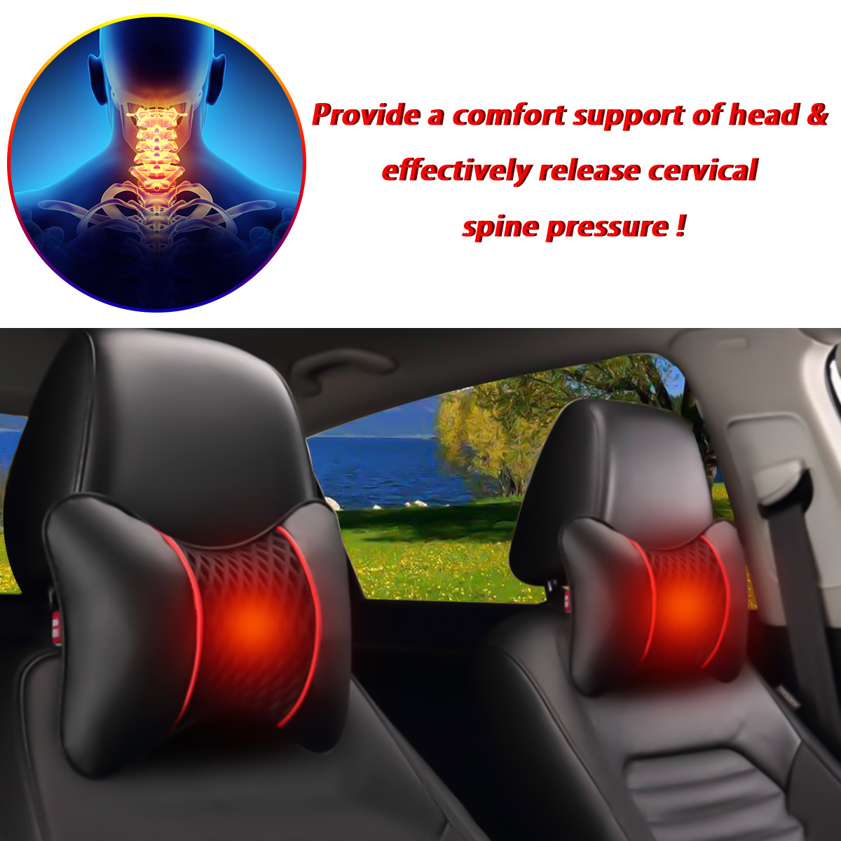 2PCS PU Leather Knitted Car Headrest Pillow Neck Support Cushion Seat Accessories