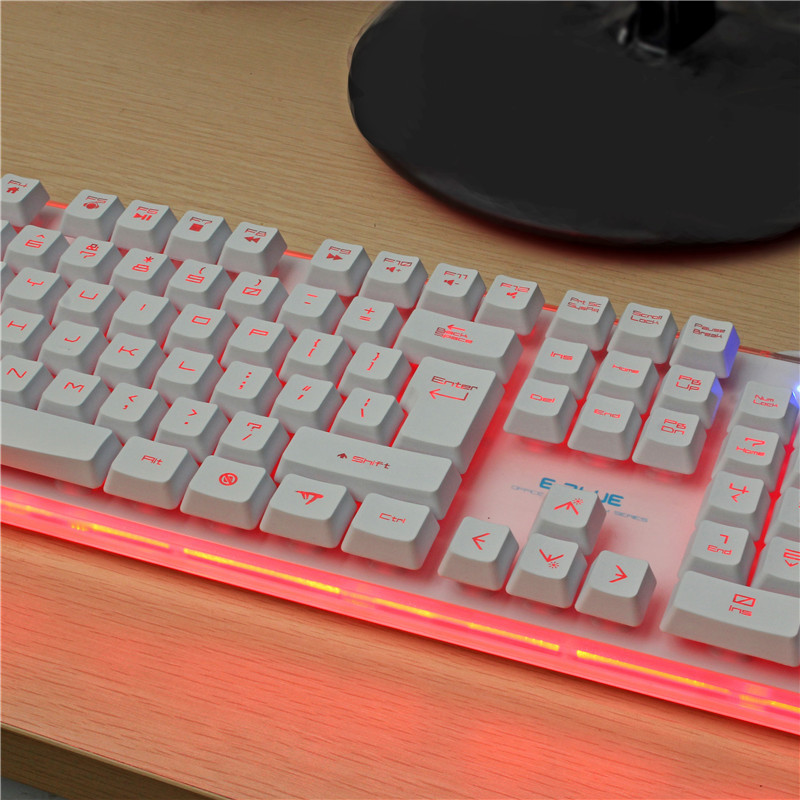E-BLUE K725 104keys 7colors Ajustable Backlight Border LED Effect Gaming Keyboard for Game PC