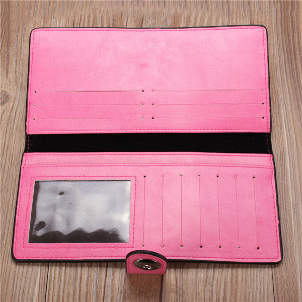 Women Candy Color Hasp Long Wallet Girls Cute Purse Card Holder Coin Bags