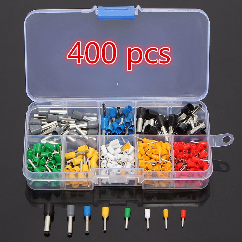 Excellway® CT04 400Pcs Wire Copper Crimp Connector Insulated Cord Pin End Terminal