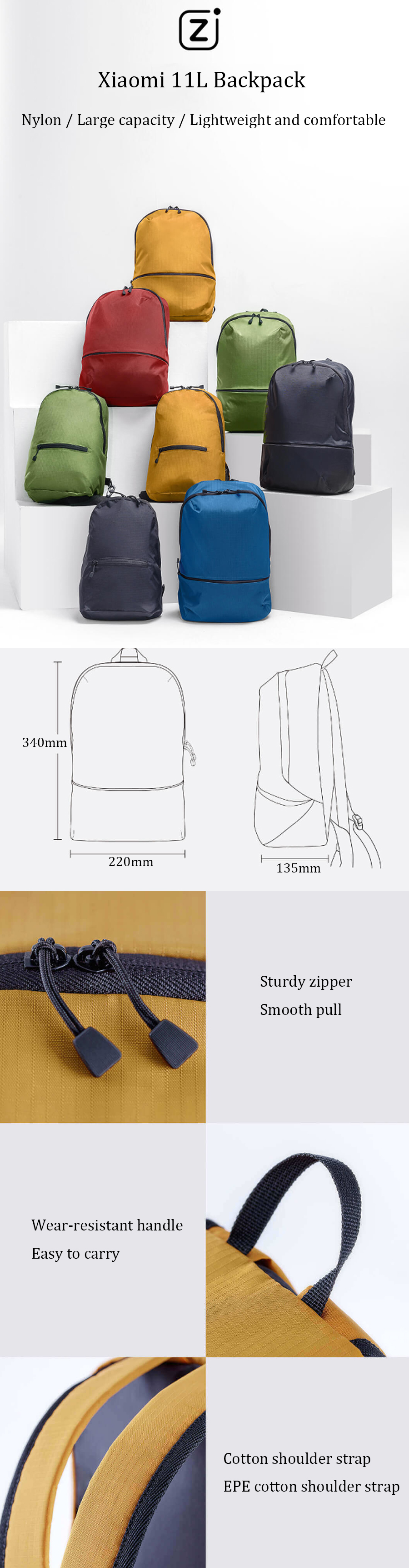 Xiaomi 11L Backpack 5 Colors Level 4 Waterproof Nylon 150g Lightweight Shoulder Bag For 14inch Laptop Camping Travel