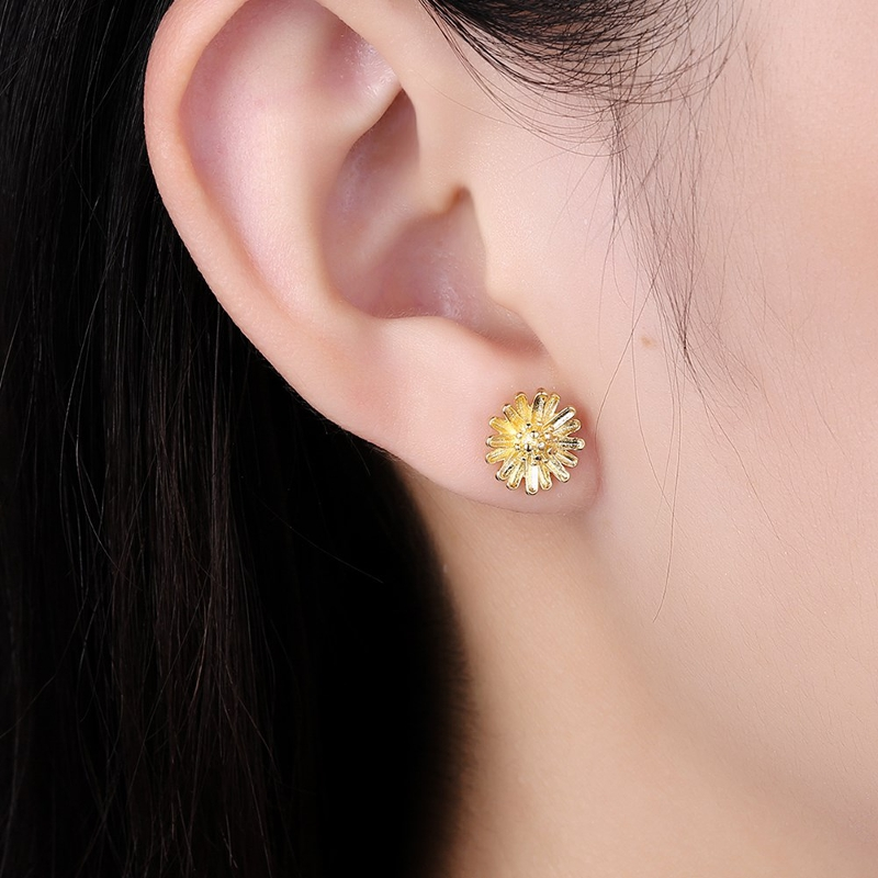 INALIS Trendy Copper Gold Plated Flower Earring Ear Stud