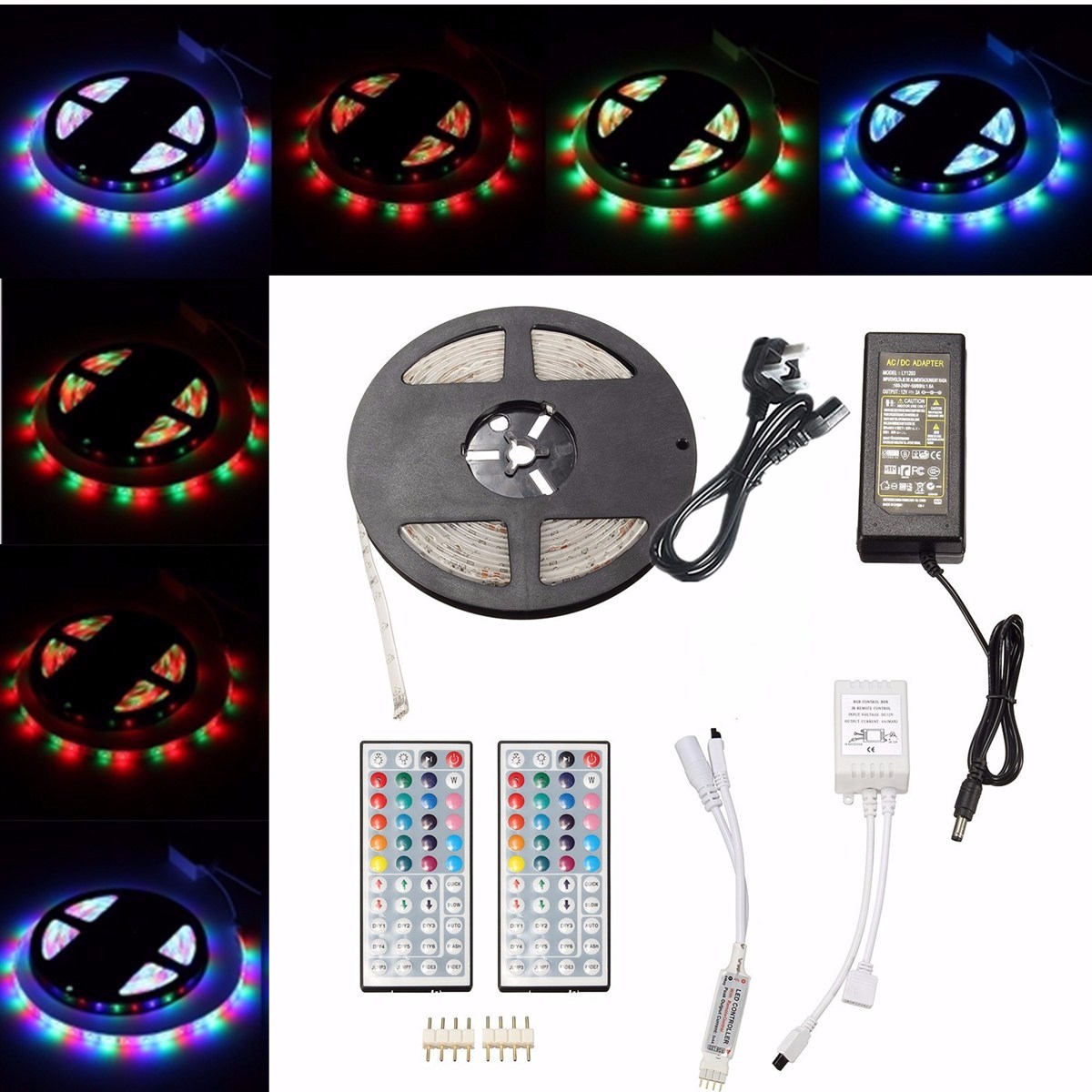 5M 3528 SMD 300LED RGB Waterproof Strip Light + 44 keys