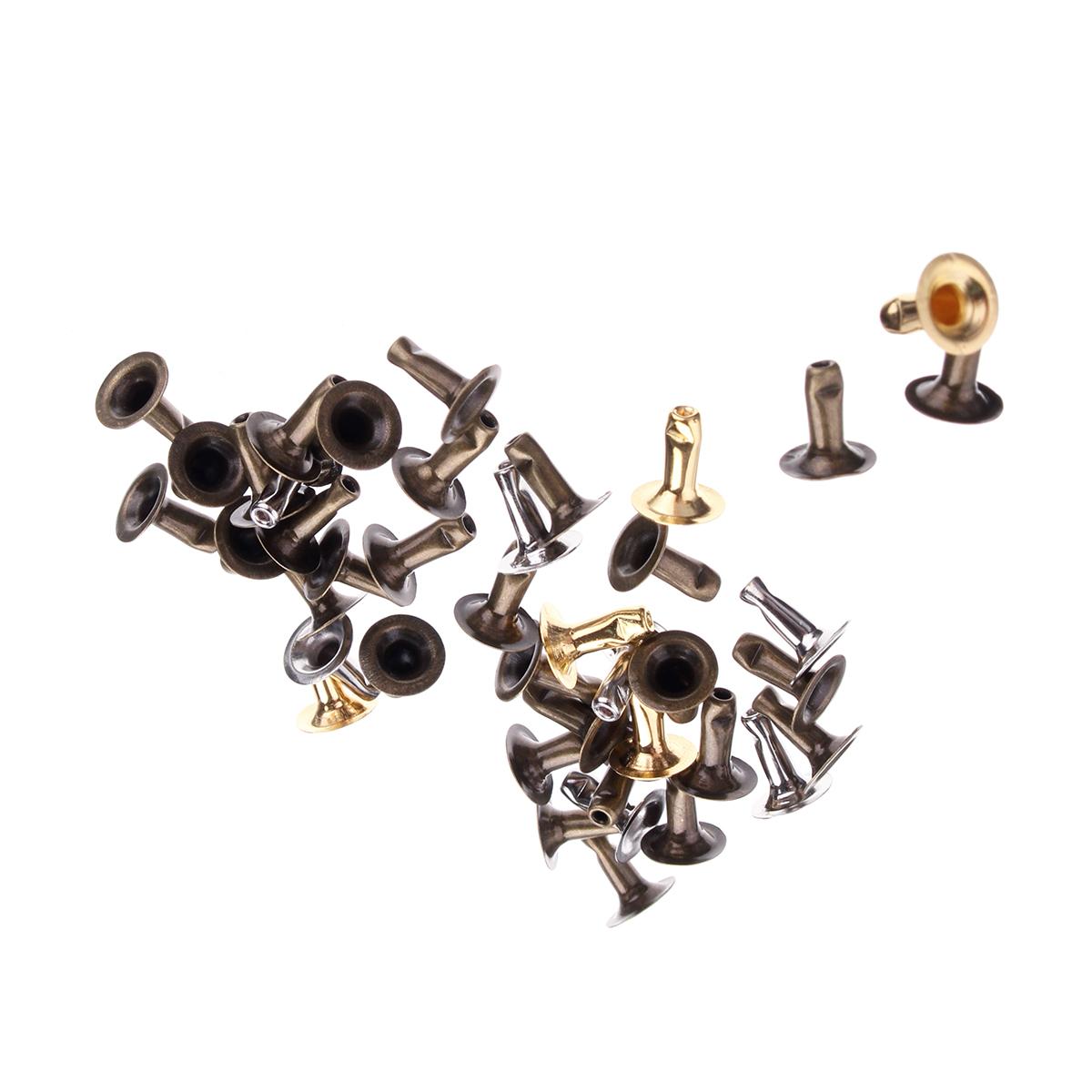 180pcs Silver Gold Single Cap Rivet Set Tubular Studs Fixing Tool Kit For Leather