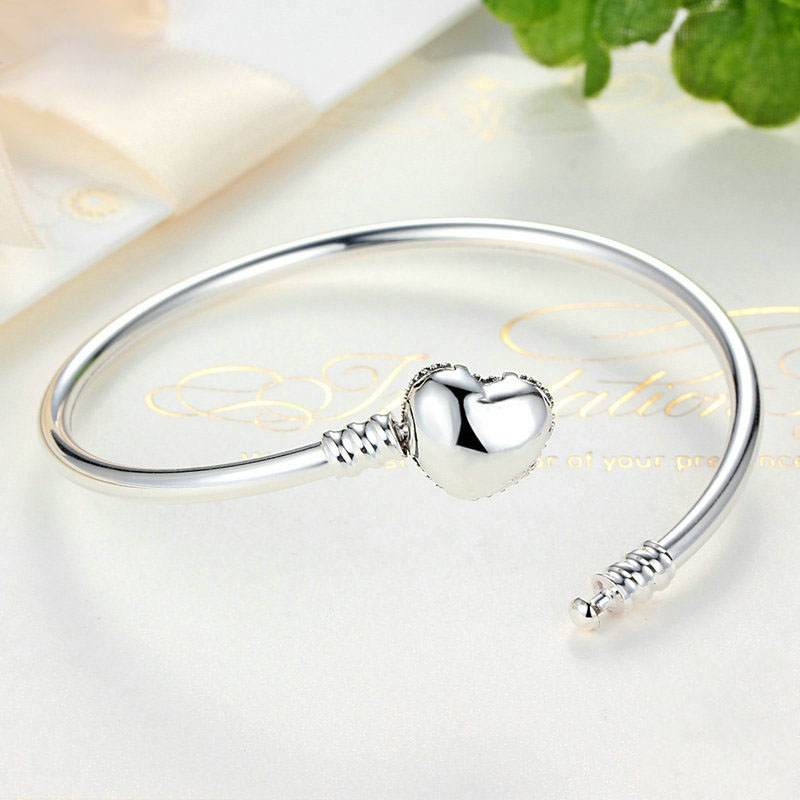 925 Silver Zircon Heart Shaped Women Bracelet