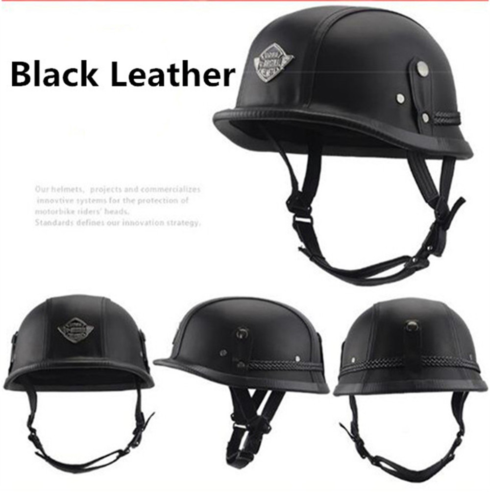 Motorcycle Half Face Helmet Retro Racing Riding Leather Vintage Cruiser Biker