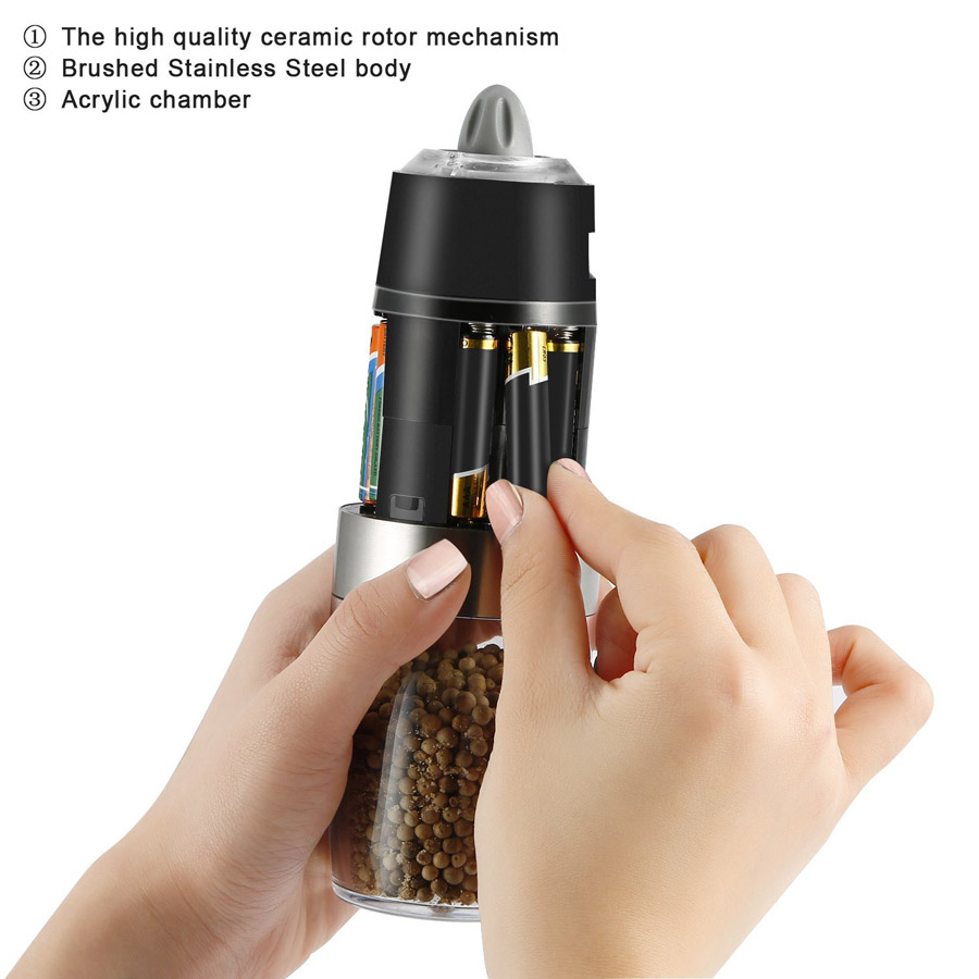 KCASA KC-GEM5 Gravity Electric Salt Pepper Grinder Effective Multifuncton Mill Automatic Battery Powered Adjustable Grind Coarseness Blue LED Light Premium Quality Electronic Kitchen Salt Shaker Black