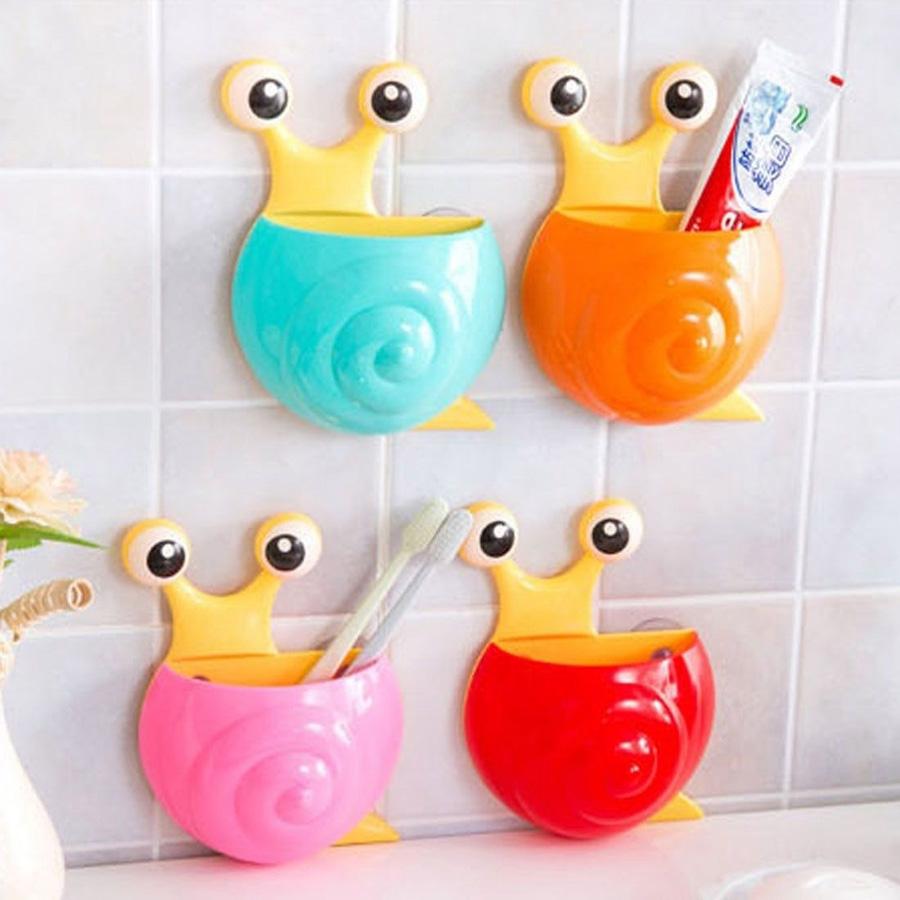 Honana Cartoon Animal Snail Bee Cute Toothbrush Holder Wall Suction Holder Bathroom Set