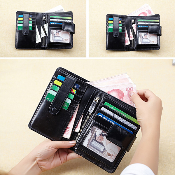 Thinnest Genuine Leather Multi Slot Short Wallet Card Purse