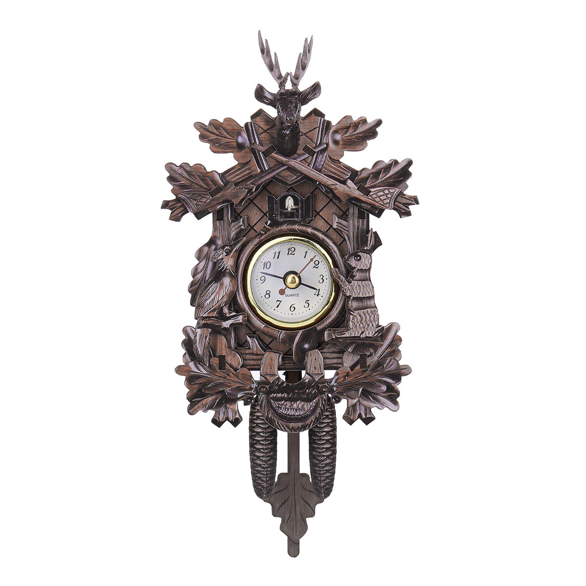 Deer Black Forest Decoration Home Cafe Art Chic Swing Vintage Cuckoo Wall Clock