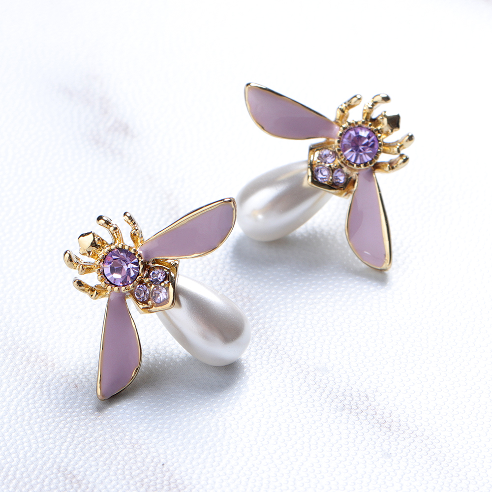 Cute Bees Ear Stud Luxury Gold Plated Gemstone Pearl Earring