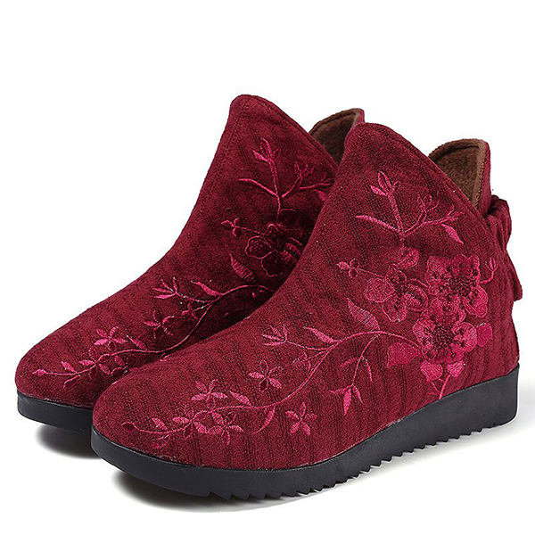 Flower Embroidery Casual Slip On Cotton Ankle Boots For Women