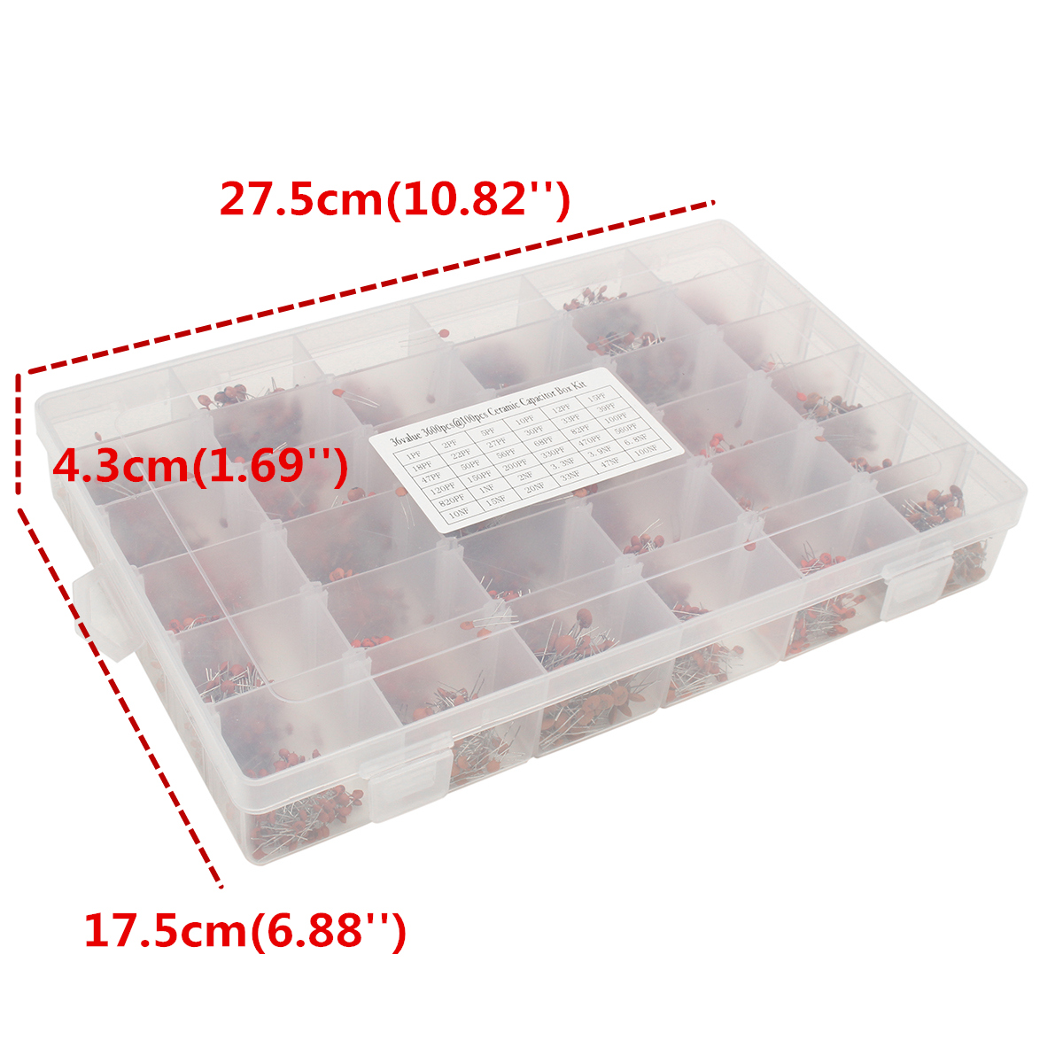 36value 3600pcs 50v Electrolytic Capacitor Assortment Box