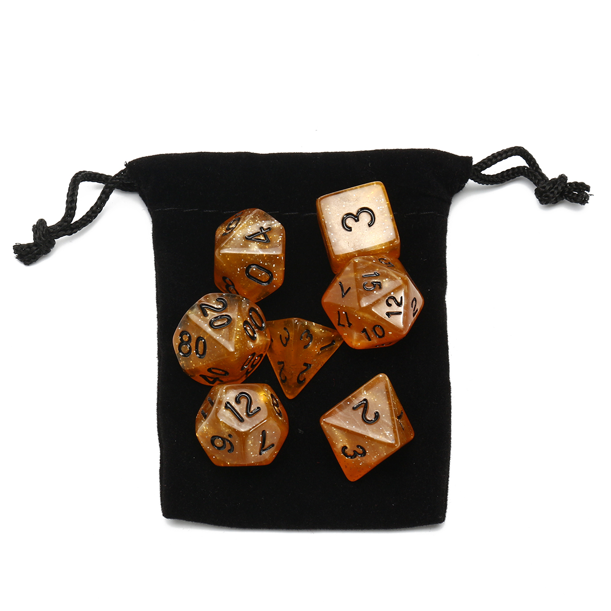 7 Piece Polyhedral Dice Set Multisided Dice With Dice Bag RPG Role Playing Games Dices Gadget