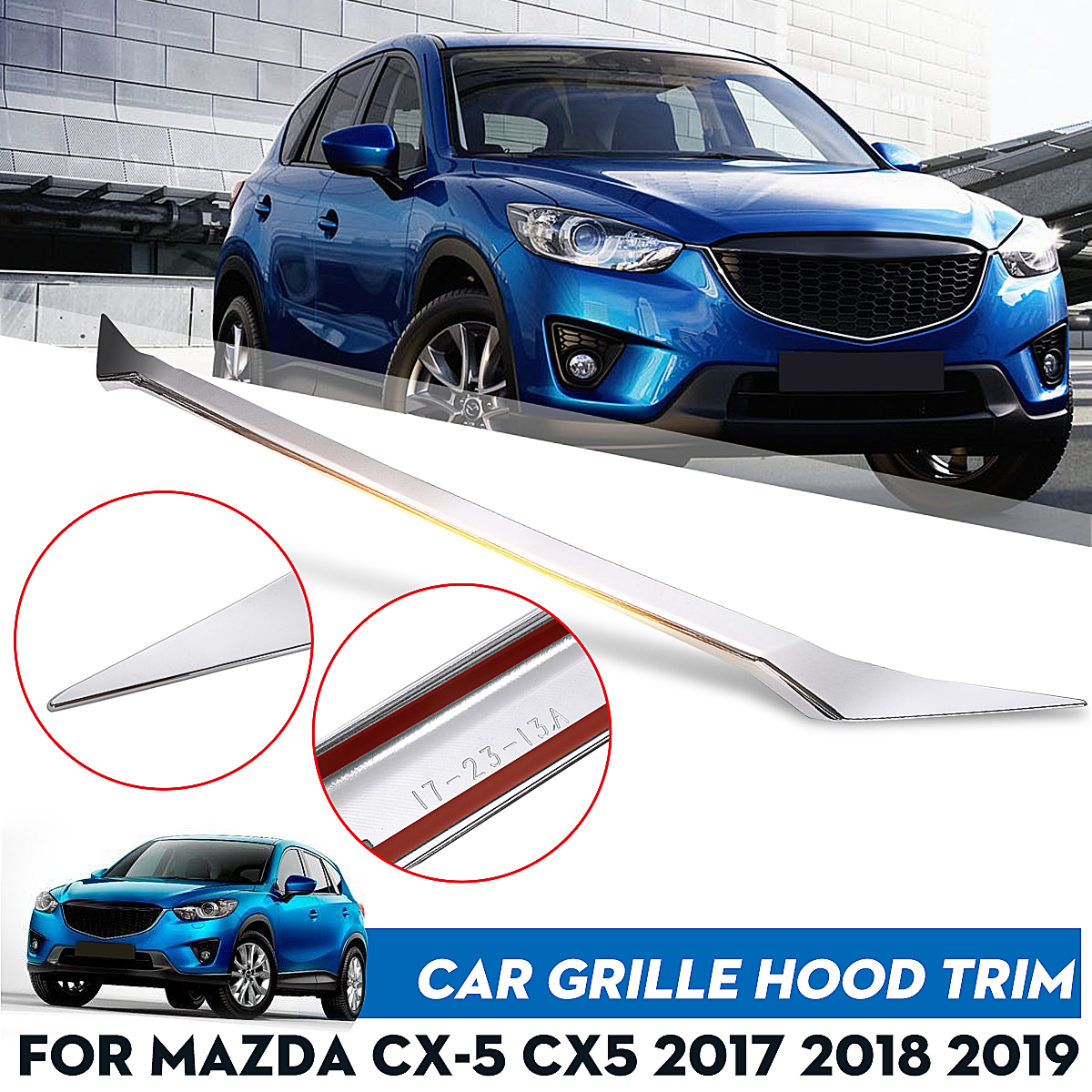 ABS Chrome Car Front Grille Grill Hood Engine Bonnet Cover Trim Sticker Decoration Accessories For Mazda CX-5 CX5 2017 2018 2019