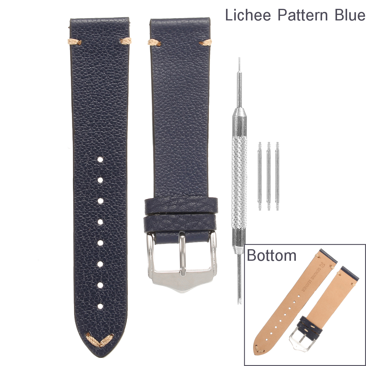 20mm 22mm Shock Resistant Leather Replacement Strap Watch Band Spring Pars Tool Wristband