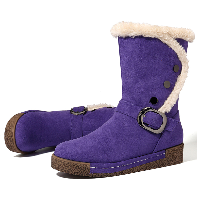 LOSTISY Warm Snow Boots Winter Casual Buckle Zipper Boots