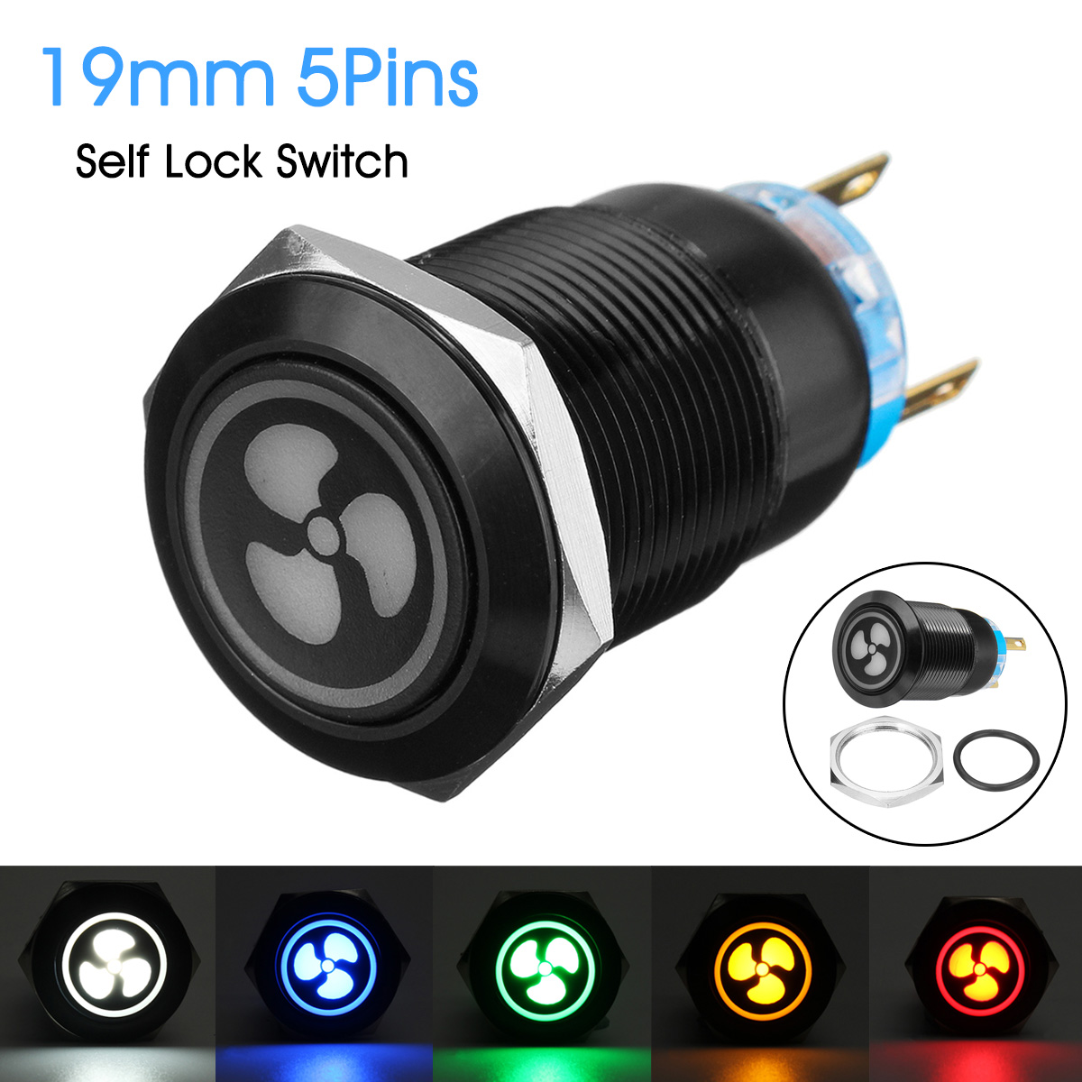 19MM Push Button Switch 12V LED Self Lock Switch IP65 Waterproof Metal On-off Switch