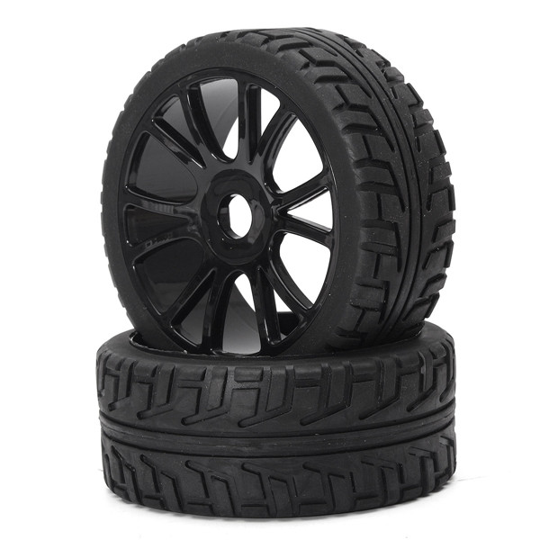 4PCS 17mm Hub Wheel Rim & Tires HSP 1:8 Off Road RC Car Buggy Tyre Black