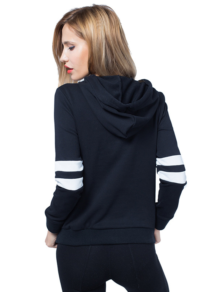 Casual Women Striped Patchwork Long Sleeve Drawstring Hoodies