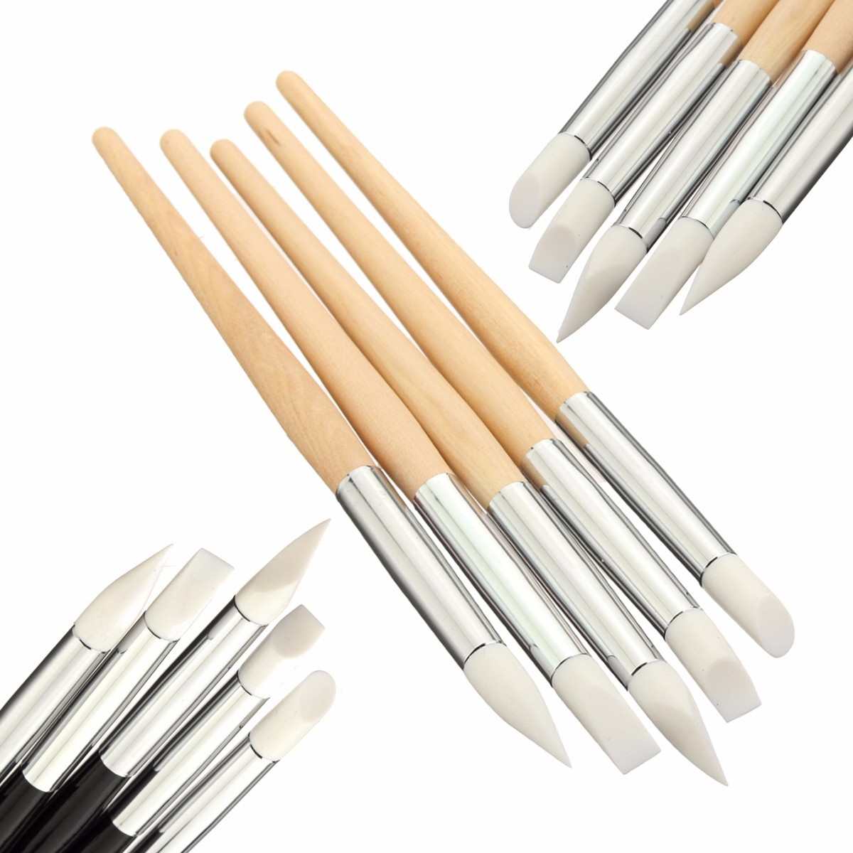 5Pcs Silicone Nail Art Tips Painting Brush Pens Drawing Gel Polish Manicure Tool Kit