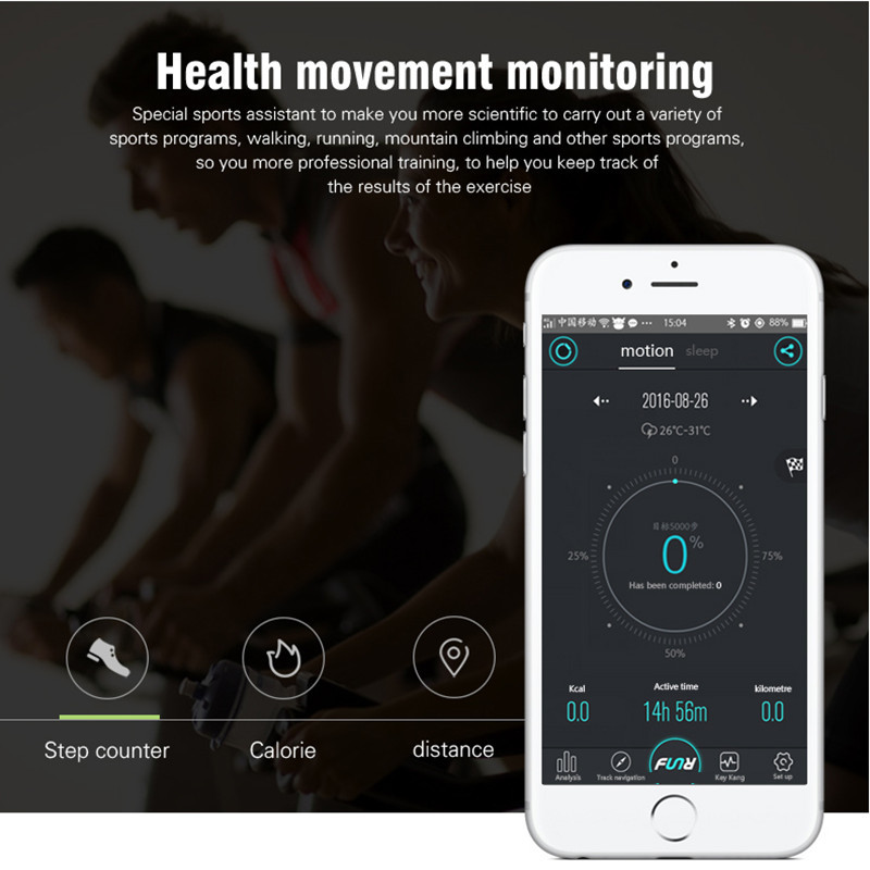 OLED Wrist IP67 Waterproof Bracelet bluetooth Smart Heart Rate Touchpad For iPhone 7 Samsung Xiaomi