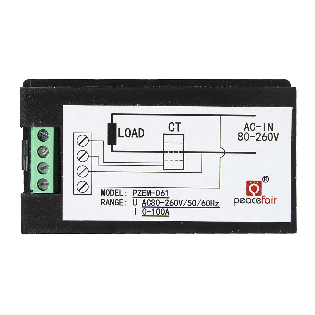 100A AC260V Digital Watt Power Energy Meter Current Tester Volt Meterr with Open Close CT