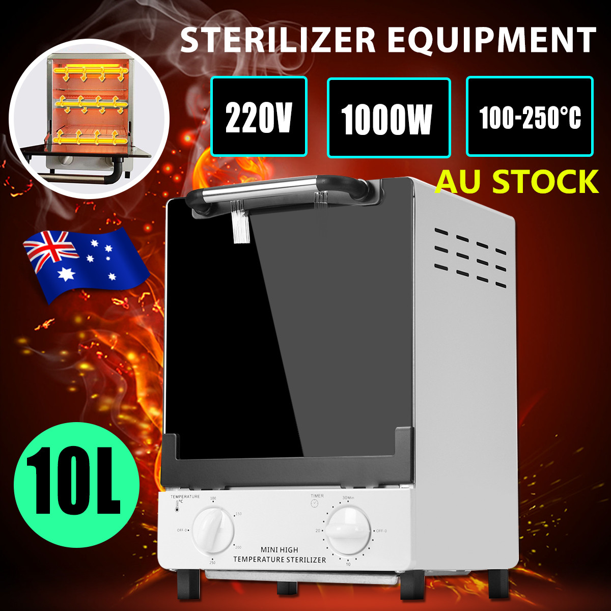 10L 900W Double Deck Nail Tools Heat Sterilizer Autoclave Spa Dental Medical High Temperature Sterilizer 220V