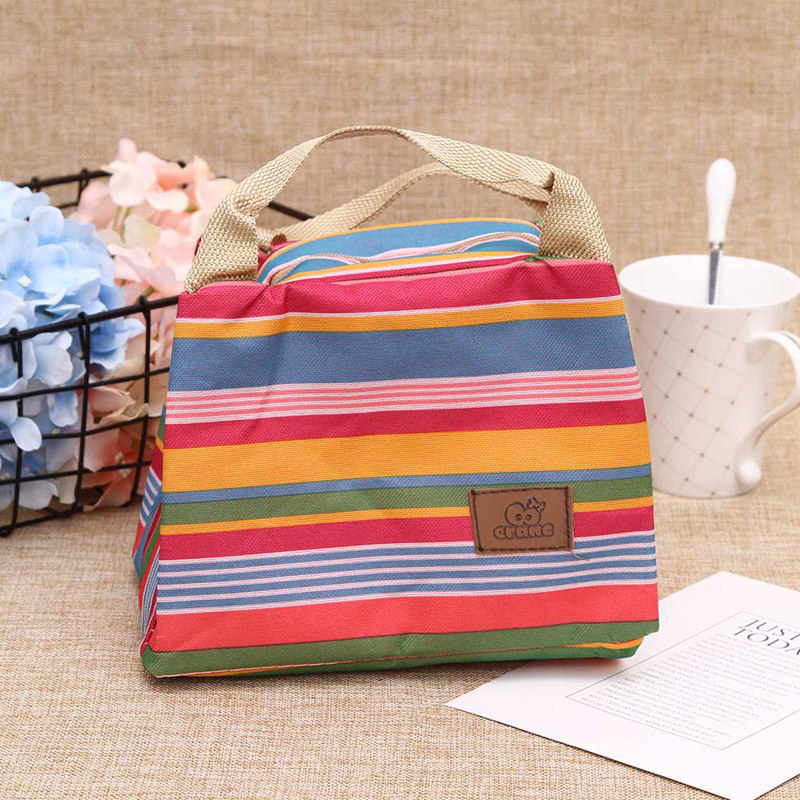 Insulated Lunch Bag Cute Cold Insulation Package Lunch Bag Thermal Stripe Tote Bags Picnic Food Lunch Box Bag for Women Girls Ladies Kids