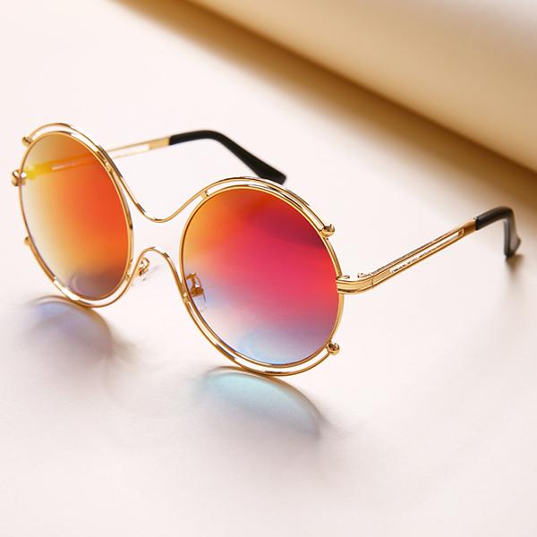 Women Mens Unisex Vintage Anti-UV Double Ring Sunglasses Retro Steampunk Round Mirror Lens Glasses
