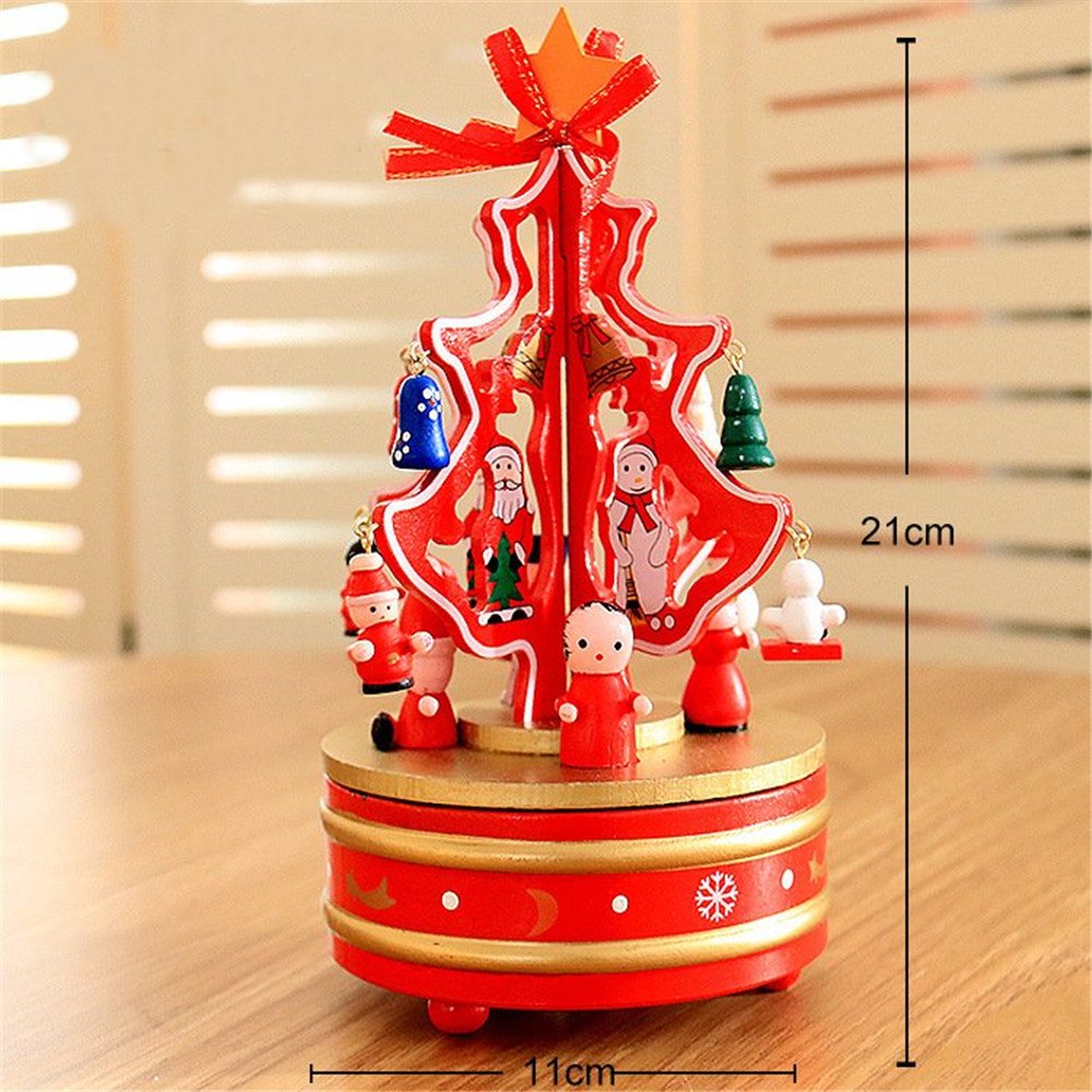 21*11cm Wooden Christmas Music Box Wind-up Toys Carousel Musical Box Gift Collection