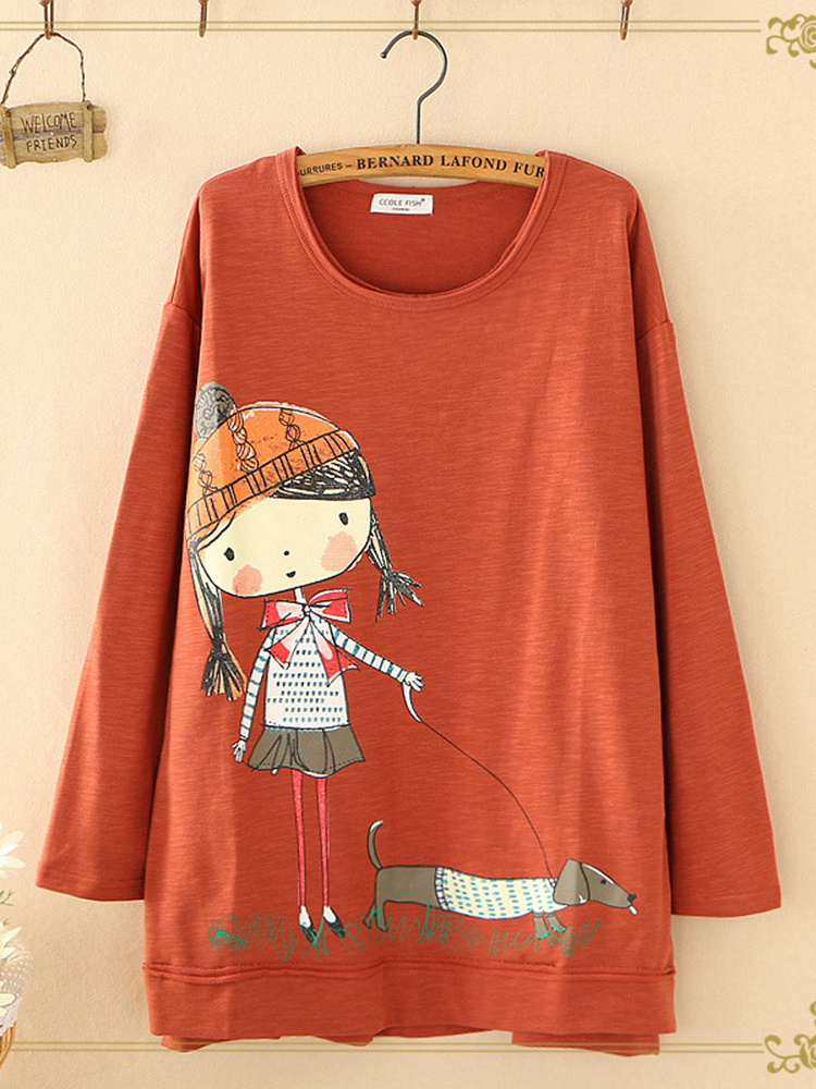 Купить со скидкой Women Casual O-Neck Cartoon Print Long Sleeve Sweatshirt