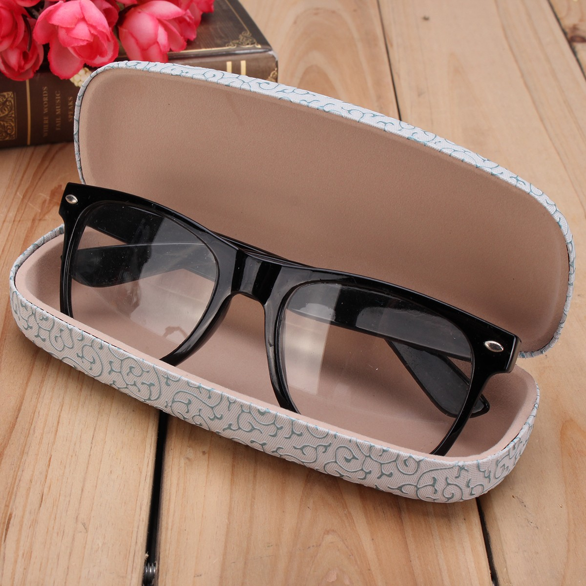 Vintage Hard Sunglass Glasses Box Lace Pattern Reading Glasses Storage Spectacle Glasses Case
