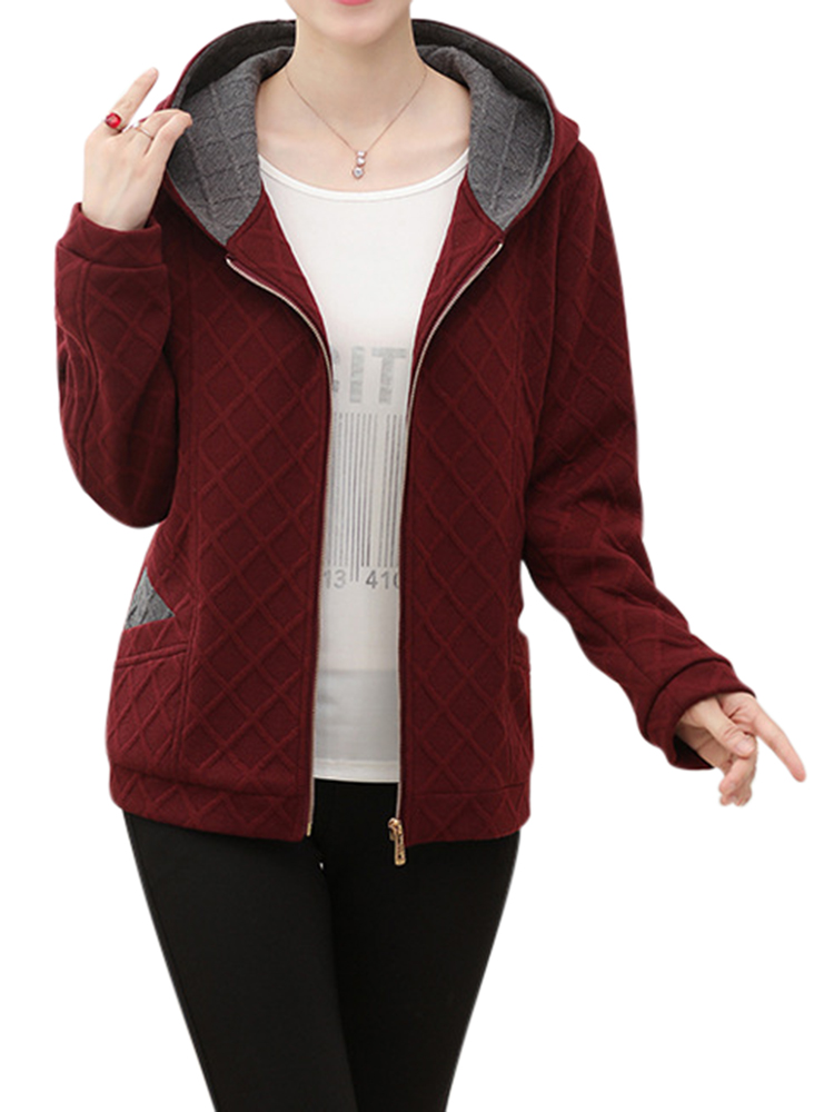 Casual Women Plaid Lapel Zipper Long Sleeve Hooded Coat
