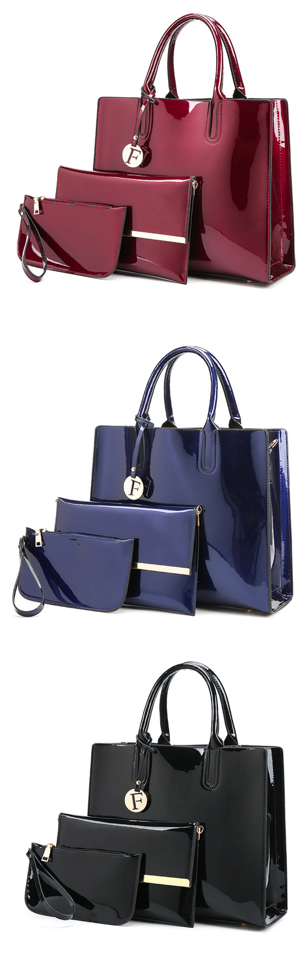 Three-piece Women Bag Large Capacity Elegant Purse Crossbody Shoulder Bag