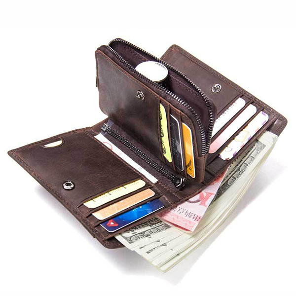Men Genuine Leather Coin SIM Card Holder Trifold Wallet