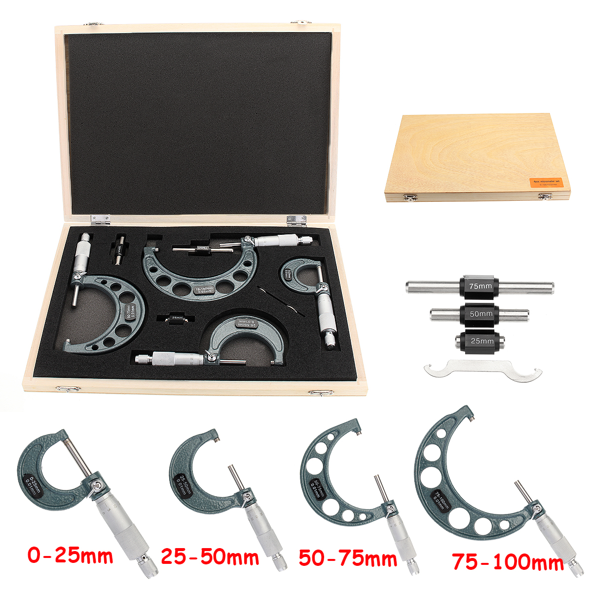 4PC Micrometer Set 0-100mm Metric External Analogue Caliper Precision Measuring