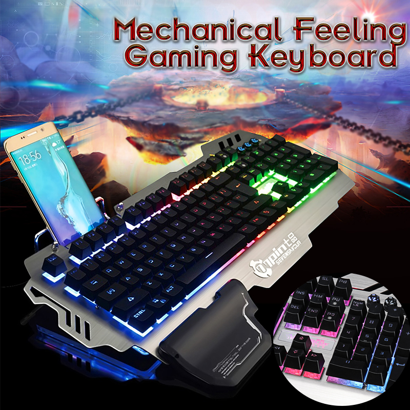 104Keys USB Wired RGB LED Backlight Mechanical Handfeel Gaming Keyboard 26Keys Not Conflict