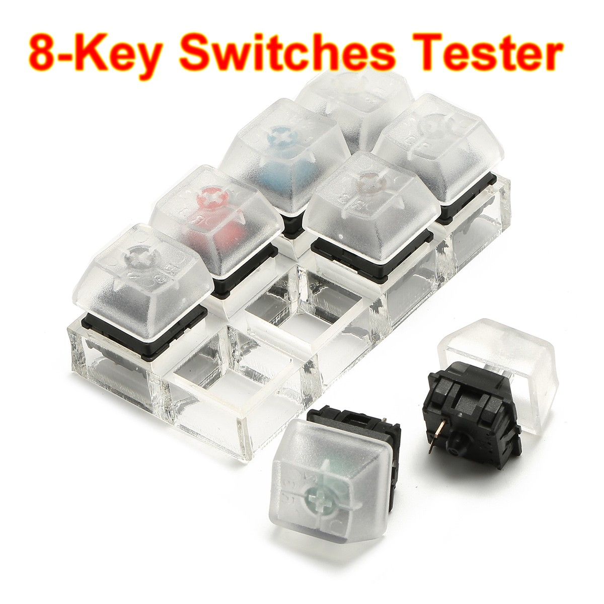 8 Key Mechanical Keyboards Switch Tester Kit Keycaps Switches Sampler For Cherry MX