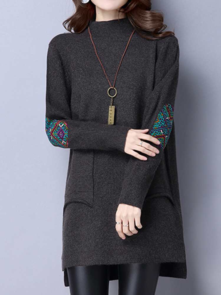 Casual Turtleneck Long Sleeve Pockets Loose Women Knitted Sweater Dress