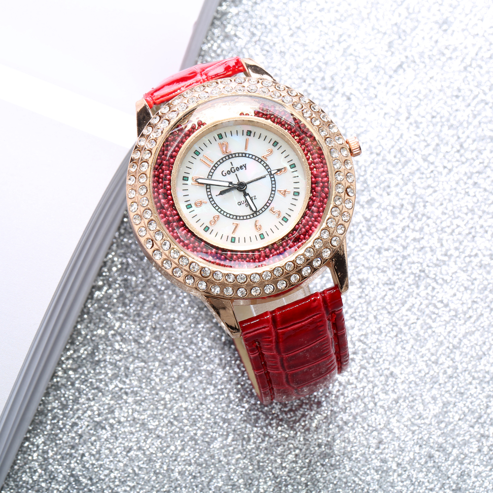 Fashion Colorful Leather Band Crystal Women Quartz Watch